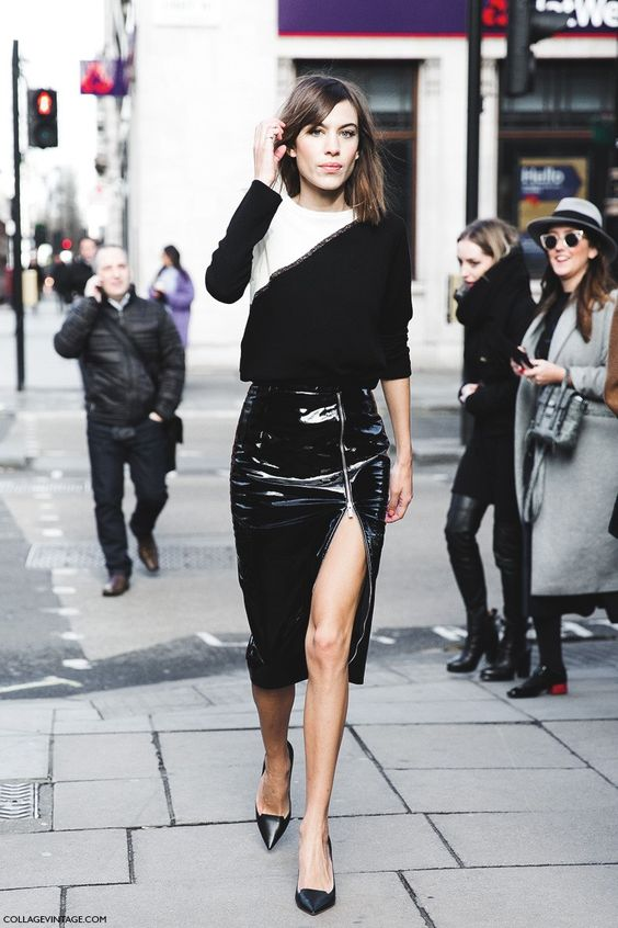 London_Fashion_Week_Fall_Winter_2015-Street_Style-LFW-Collage_Vintage-Alexa_Chung-Zipper_Pencil_Skirt-Black_And_White-8