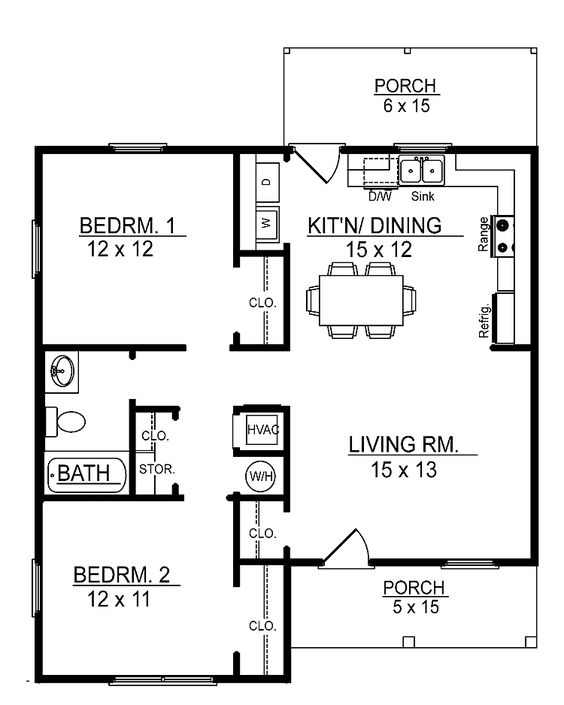 Cabin plans floor plans and cabin floor plans on pinterest Sample 2 bedroom house plans