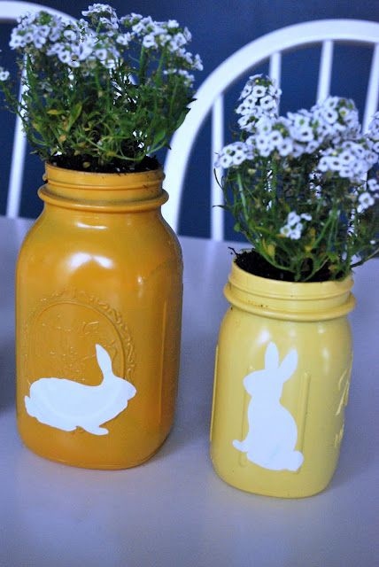 Spray-painted Mason jars with bunnies