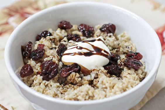Oat Couture: Make breakfast classy by adding dried cherries, crème fraiche and a balsamic reduction to your favorite bowl of oats. #BRMOatmeal