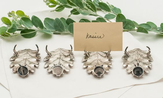 Set of 4 Montpelier Hotel, Vermont Place Card Holders #settings #placecards #leaf #Vermont #silver #hotel
