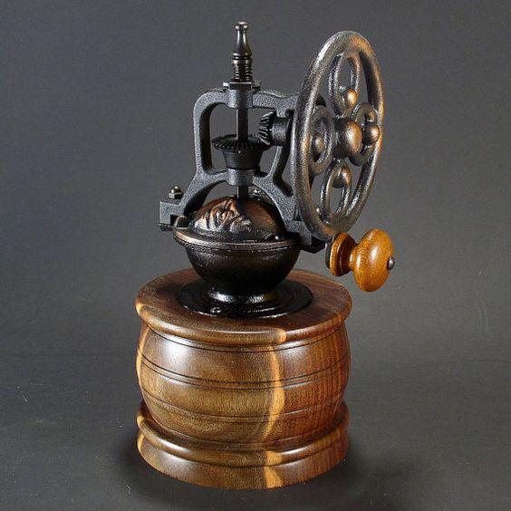 Reproduction coffee mill...beautiful wood catch basin.