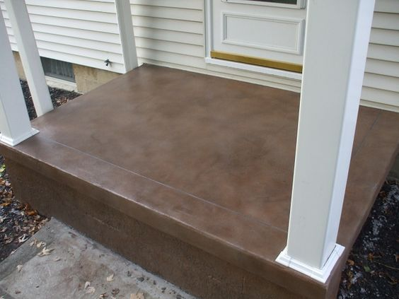 Stained cement porch concrete stain ideas projects for Best way to clean concrete porch