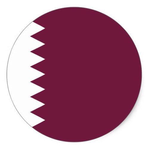 Qatar Flag Classic Round Sticker Custom Stickers Flag Round Stickers