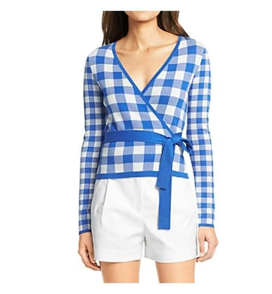 $348 - Diane Von Furstenberg Women's Kyla Ballerina Gingham Wrap Sweater Printed (Medium, Blue Riviera / White Gingham) #apparel #sweater #dianevonfurstenberg #sweaters #clothing #women #departments
