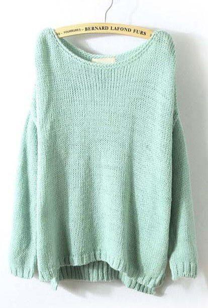 Mint Green Long Sleeve Split Loose Pullovers Sweater - Sheinside.com