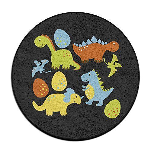 Four Dinosaur Cartoon Circle Bathroom Rug Mat Round Shower Carpet Bath Mat Rugs Mat Rugs Kids Rugs