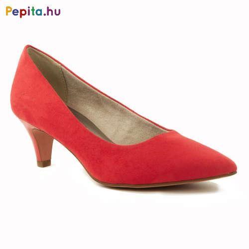 Tamaris női alkalmi lábbeli, textil bőr felsőrésszel, piros
