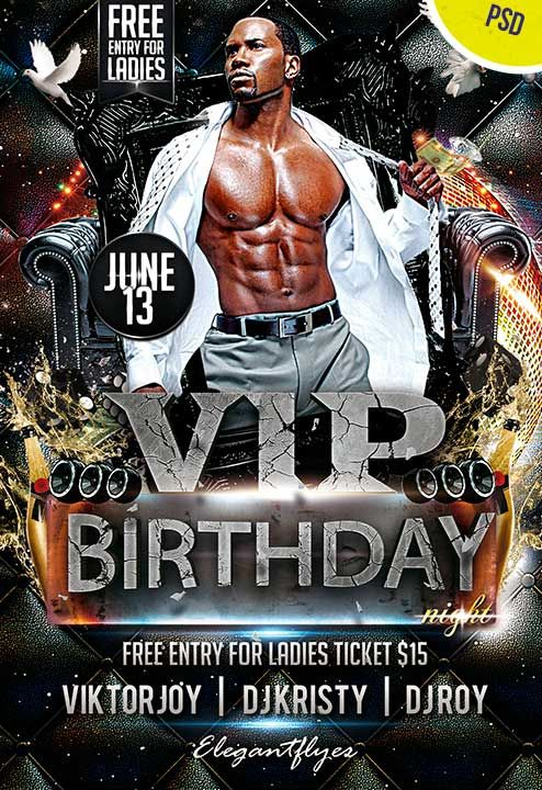 VIP Birthday Night Club and Party Free Flyer PSD Template http – Birthday Flyer Templates Free