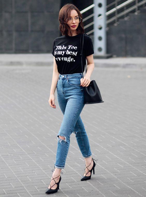 estilo casual com calça jeans pegada