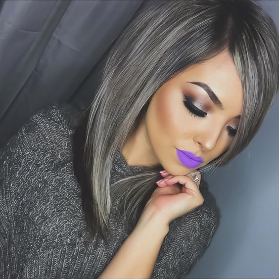 //hair goals. grey hair trend. matte purple lipstick. shoulder length hair. beauty and hair. smoky eye. beautiful brows. #make-up