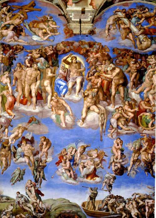 Michelangelo - the Sistine Chapel. bright and colourful. paint. appears to based on still life