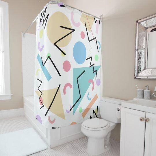Memphis 102 Shower Curtain Zazzle Com Custom Shower Curtains