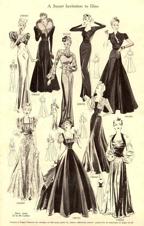 Вечерни рокли от Weldons Catalog of Fashions, 1939-40