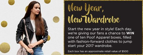 New Year, New Wardrobe Giveaway from Poof Apparel!  TEN WINNERS receive $500 worth of clothing and goodies!