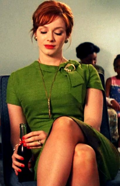 She can wear absolutely anything and look amazing but Joan Holloway (Christina Hendricks) has one fabulous wardrobe of boldly colored, body hugging office wear and simple gold jewelry. #MadMen