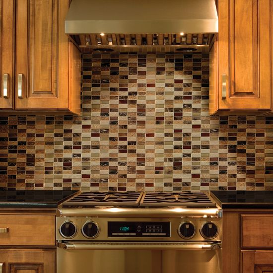Contemporary kitchen backsplash mosaic blend with earth for Earth tone kitchen designs