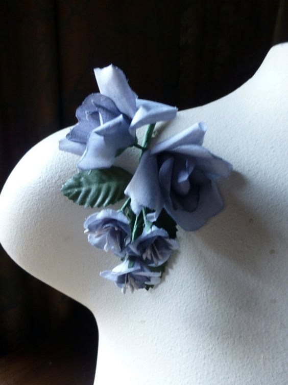 Silk Roses in Gray Blue for Bridal, Boutonnieres, Hats, Corsages MF 138gb