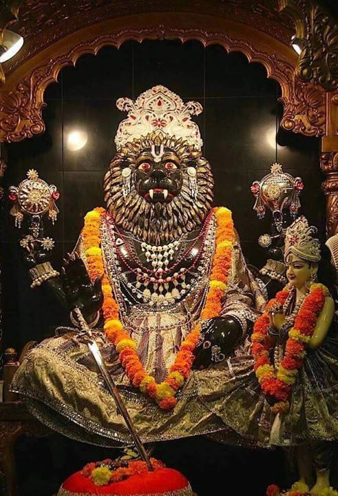 "Sri Nrisimha Maha-mantra - TemplePurohit.com  ugram viram maha-vishnum  jvalantam sarvato mukham  nrisimham bhishanam bhadram  mrityur mrityum namamy aham  Translation ""I bow down to Lord Narasimha who is ferocious and heroic like Lord Vishnu. He is burning from every side. He is terrific auspicious and the death of death personified.""  Significance of Sri Nrisimha Maha-mantra  It is stated in Shastra that this mantra is the essence of all kavacha mantras or mantras meant for wearing in a kavach"