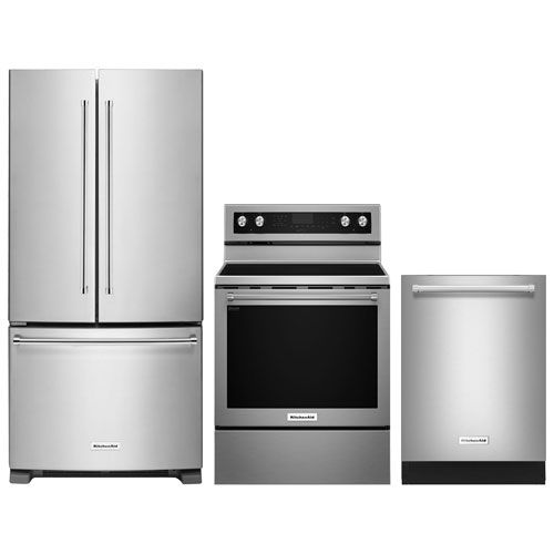 Kitchenaid 33 French Door Refrigerator Electric Range Dishwasher Package Stainless Steel French Door Refrigerator Kitchen Aid Refrigerator