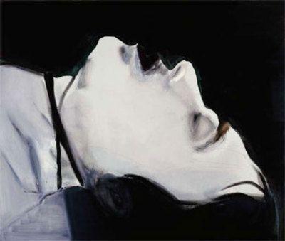 Marlene Dumas. Stern. Portrait of Ulrike Meinhoff. A reinterpretation of Gerard Richter's painting of Meinhoff. Richter based his image on a photo taken of Meinhoff's death in Stammheim prison.
