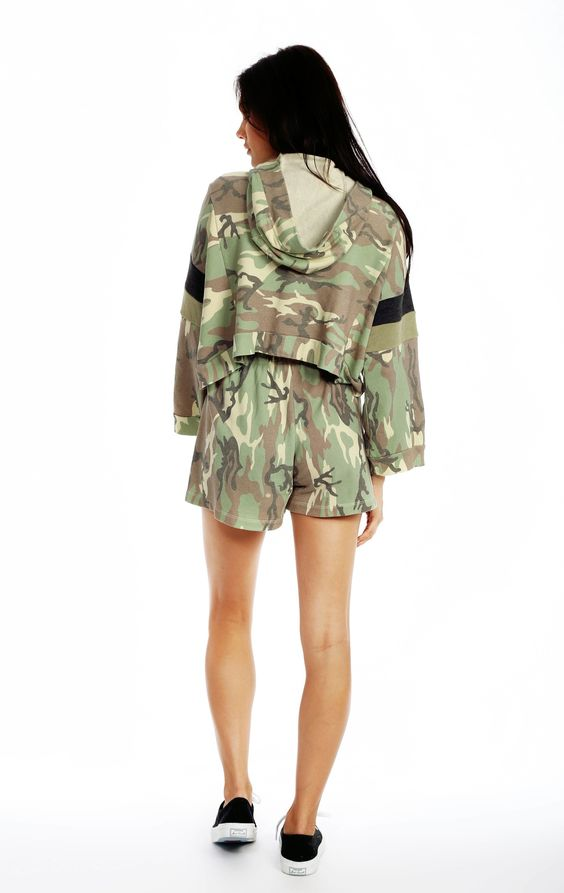 The Wildfox Foxercise Classic Camo Draped Hoodie