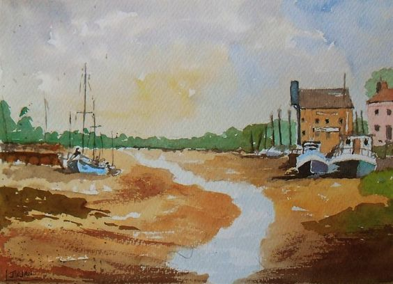 ARTFINDER: Sailing boats and barges moored at Fa... by Julian Lovegrove Art - This is an original watercolour painting of sailing boats and barges moored at Faversham Creek on the North Kent coast. It shows the creek with its historic...