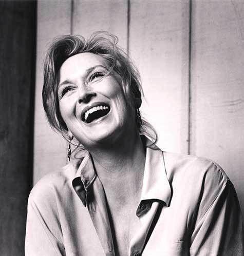 Meryl Streep, laughing.