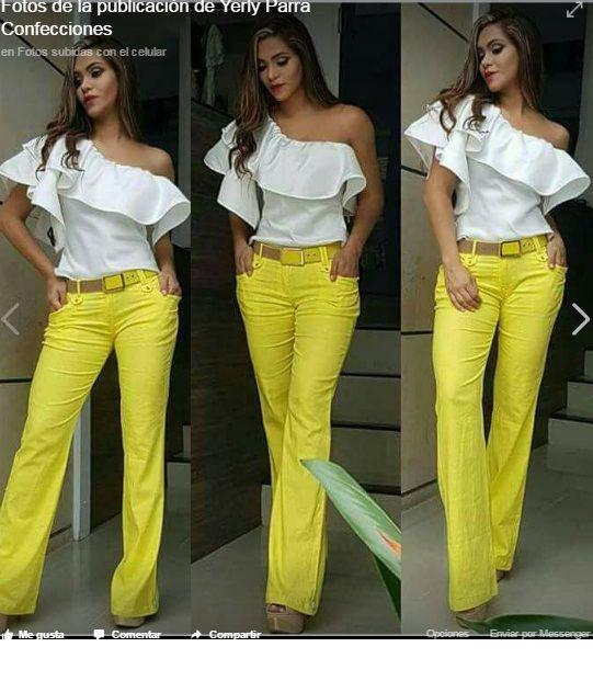 Blusa Blanca De Gola Y Pantalon Amarillo Ropa Ropa De Moda Moda