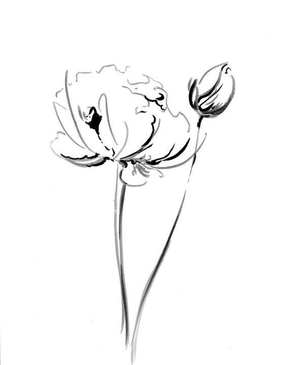 Flowers Ink Drawing Art Print, Minimalist Abstract Modern Black ...