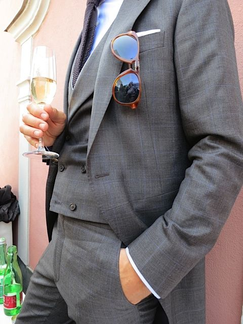 Morning coat. And a Persol. Fantastic. Steve McQueen would love it.