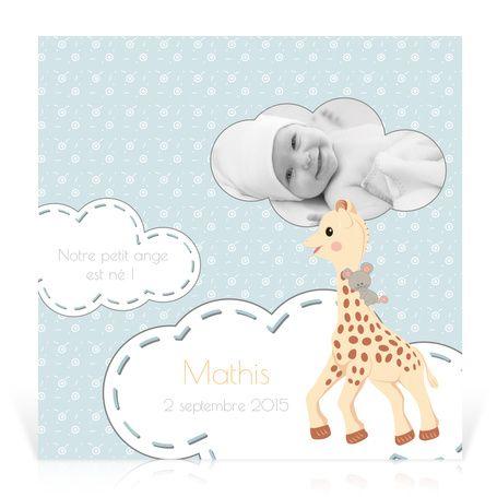 Faire-part naissance Sophie la girafe Comme sur un nuage… - Cardissime - Depuis sa naissance, toute la maison vit sur un nuage. Partagez la nouvelle avec Sophie la girafe et une photo de votre enfant.