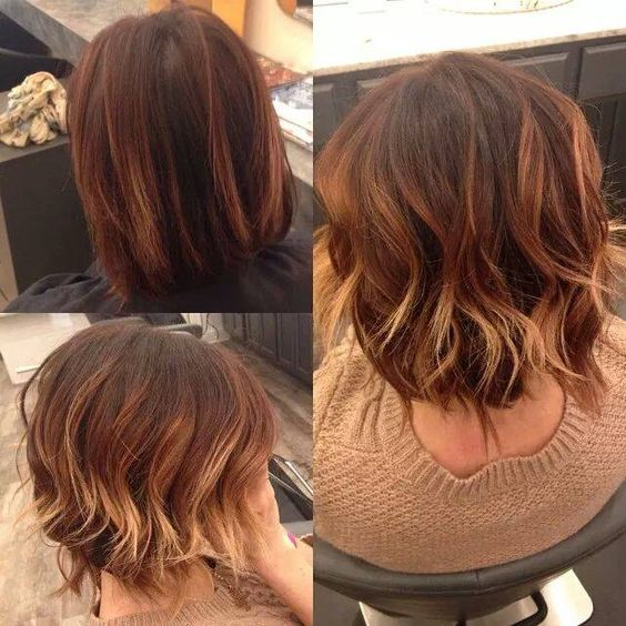 balayage hand painted hair caramel hair red ombre copper highlights short hair mandeville, la baton