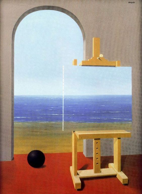 La condición humana (1935)  Descripción: Óleo sobre lienzo. 100 x 81 cm. Localización: Colección Simon Spierer. Ginebra Autor: René Magritte: