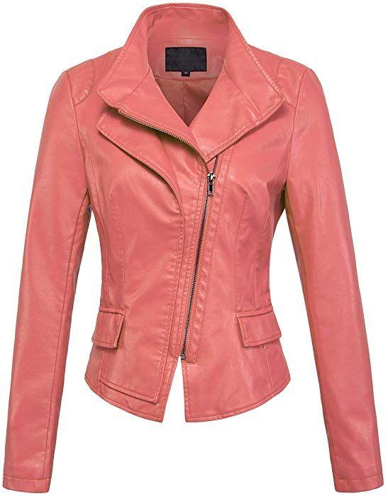 X-Large, Blue chouyatou Womens Stylish Oblique Zip Slim Faux Leather Biker Outerwear Jacket