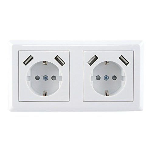 revolt Steckdose mit Doppel-USB-Netzteil (230 V) mit 3 A, 2 x 5 V