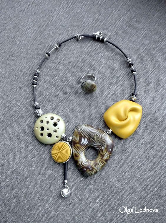 https://flic.kr/p/C83V2t | CERNIT. Techniques: Mokume-Gane, hollow beads. Yellow…
