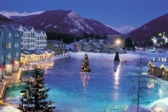 We also visited this village in Keystone, CO. This frozen lake is used for ice skating!