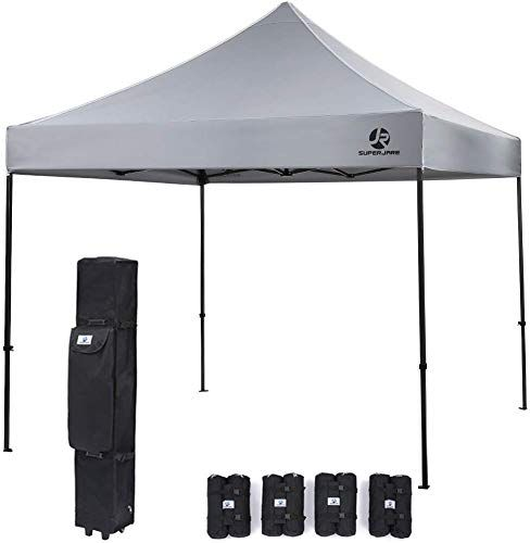 Chic Superjare Pop Up Canopy 4 Weight Bags And A Wheeled Carry Bag 10 X10 Commercial Shelter Outdoor Ins Canopy Gazebo Replacement Canopy Hexagon Gazebo