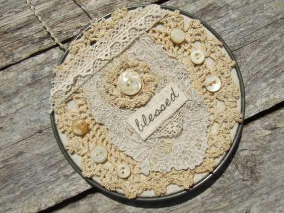 Vintage  Shabby Chic decor / Vintage Shabby Chic Embroidery hoop wall hanging by BygoneLizzyLane on Etsy