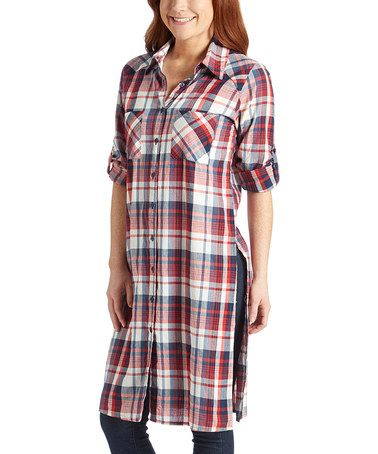 Another great find on #zulily! Red Plaid Button-Up Tunic #zulilyfinds