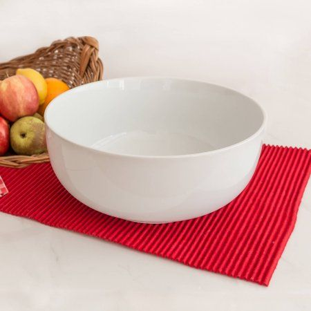 Better Homes and Gardens Large Round Bowl, White Porcelain - Walmart.com