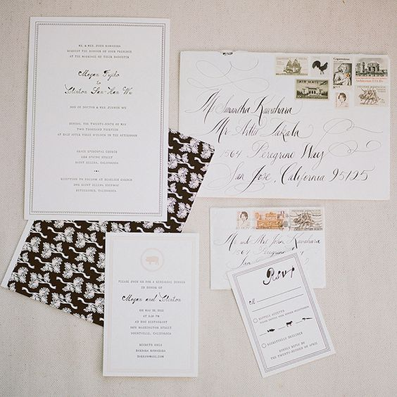 Classic wedding stationery from #MrBoddington and calligraphy by #TaraJonesCalligraphy.  Photo: Meg Smith
