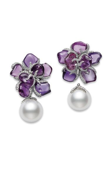 "From Mikimoto exclusives collection ""Violette"" earrings. Platinum, diamonds, South Sea white cultured pearls and 15 rough purple Sapphires.  Mikimoto mikimoto.com"