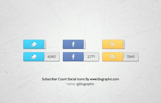 Facebook, Twitter & Rss Count Icons (Psd):