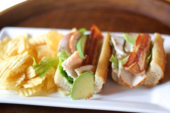 {Turkey, avocado, bacon, basil mayo sandwich} at Haute Coffee via stixandstonez