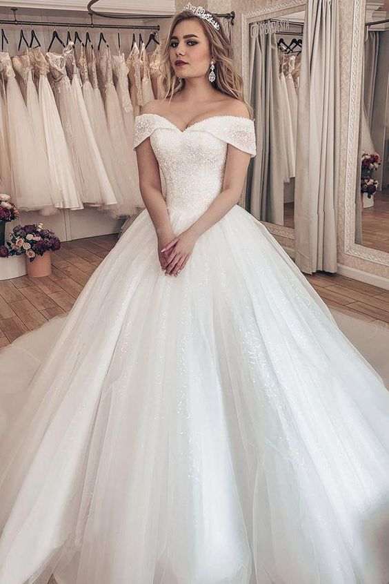 Sparkling Tulle Off-the-shoulder Neckline Ball Gown Wedding Dresses With Rhinestones #ballgownweddingdresses