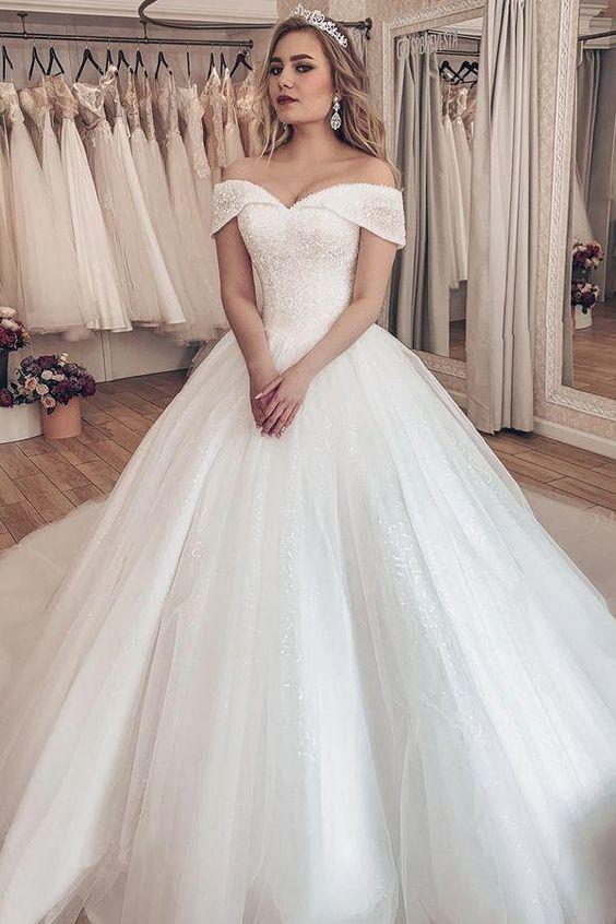 Sparkling Tulle Off-the-shoulder Neckline Ball Gown Wedding Dresses With Rhinestones #ballgownweddingdresses