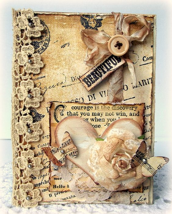 Creating from the Heart: ♥ A Monochromatic Shabby Chic Card ♥