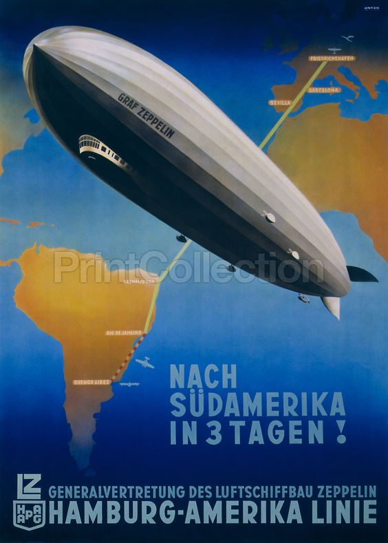 I always wanted to travel by zeppelin. Alas... Graf Zeppelin, Germany to Buenos Aires: